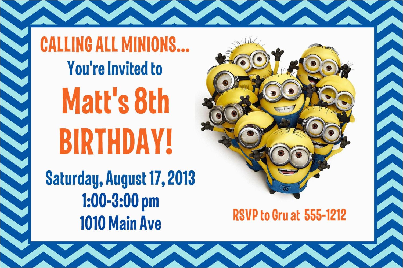 minion birthday party invitation printable 4x6 or 5x7