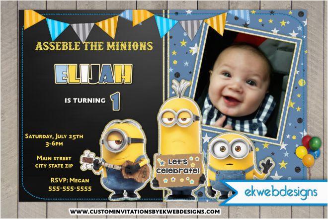 minion birthday party invitations custom party invitations