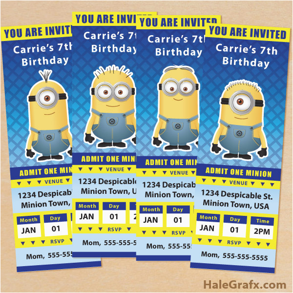 Minions Birthday Invitations Free Online Printable Despicable Me Minion Ticket