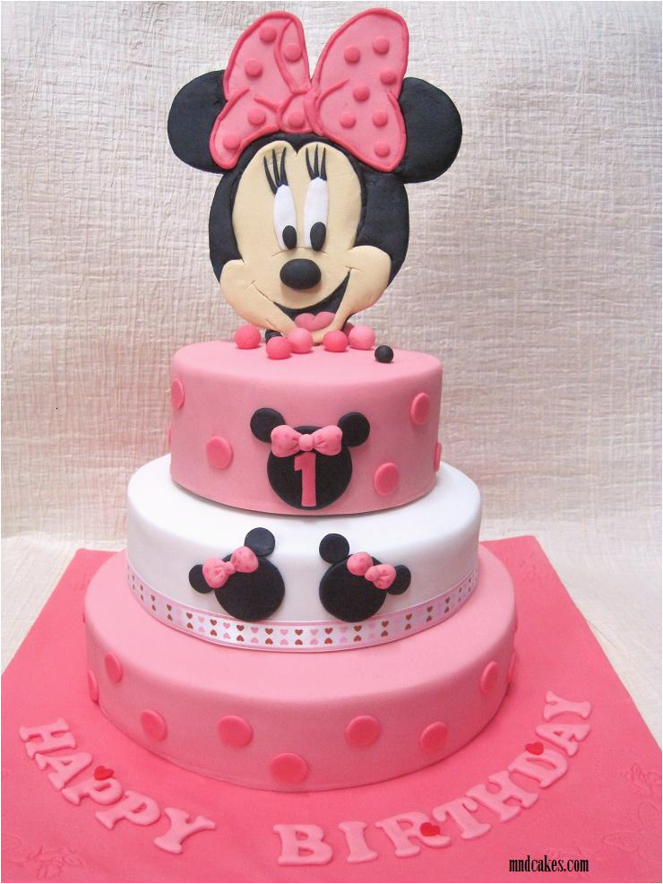 2 tiered minnie mouse cake for 1st