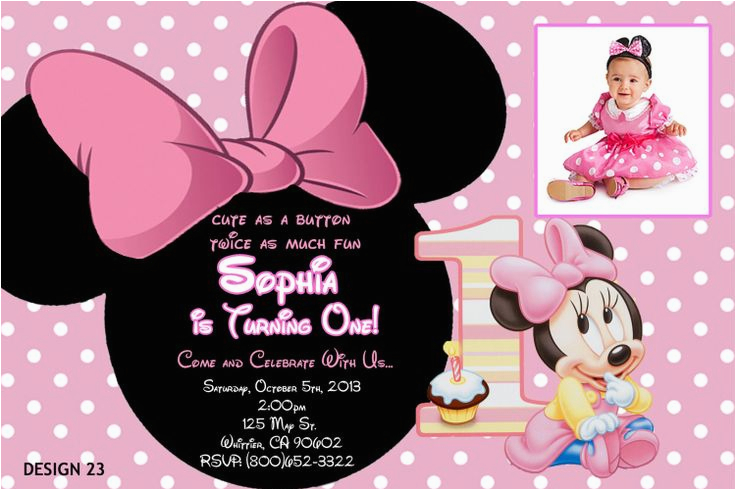Minnie Mouse 1st Birthday Custom Invitations Baby Minnie 1st Birthday Invitations Drevio Invitations