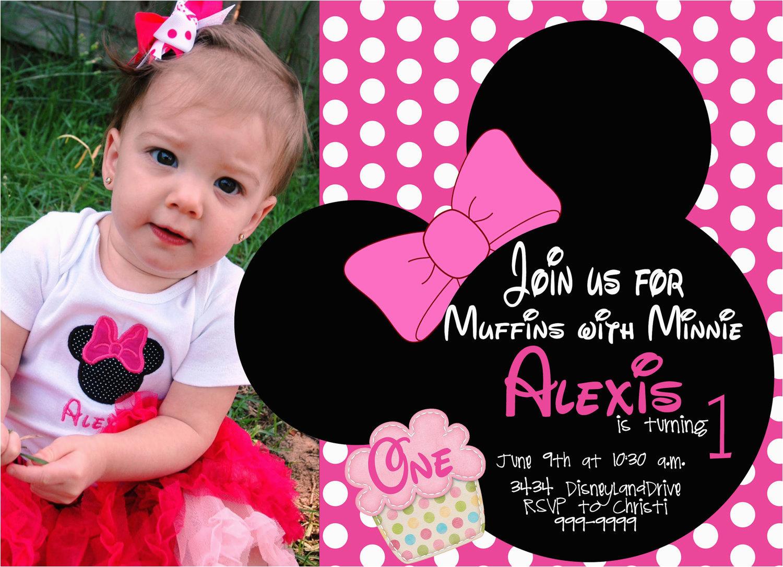 Minnie Mouse 1st Birthday Custom Invitations First Drevio