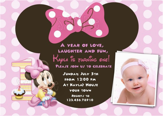 Minnie Mouse 1st Birthday Custom Invitations Minnie Mouse First Birthday Invitations Drevio