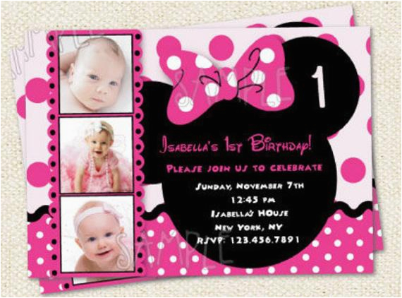 Minnie Mouse 1st Birthday Custom Invitations Minnie Mouse Inspired Custom Photo Birthday Party Invitations