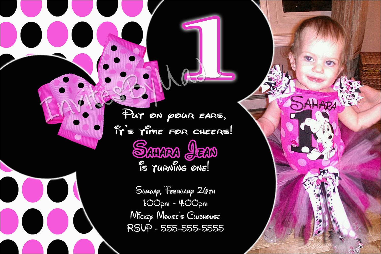 Minnie Mouse 1st Birthday Invitation Wording Invitations Drevio