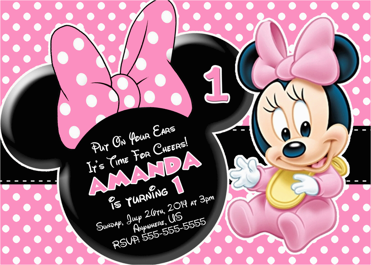 Minnie Mouse 1st Birthday Invitations Online First