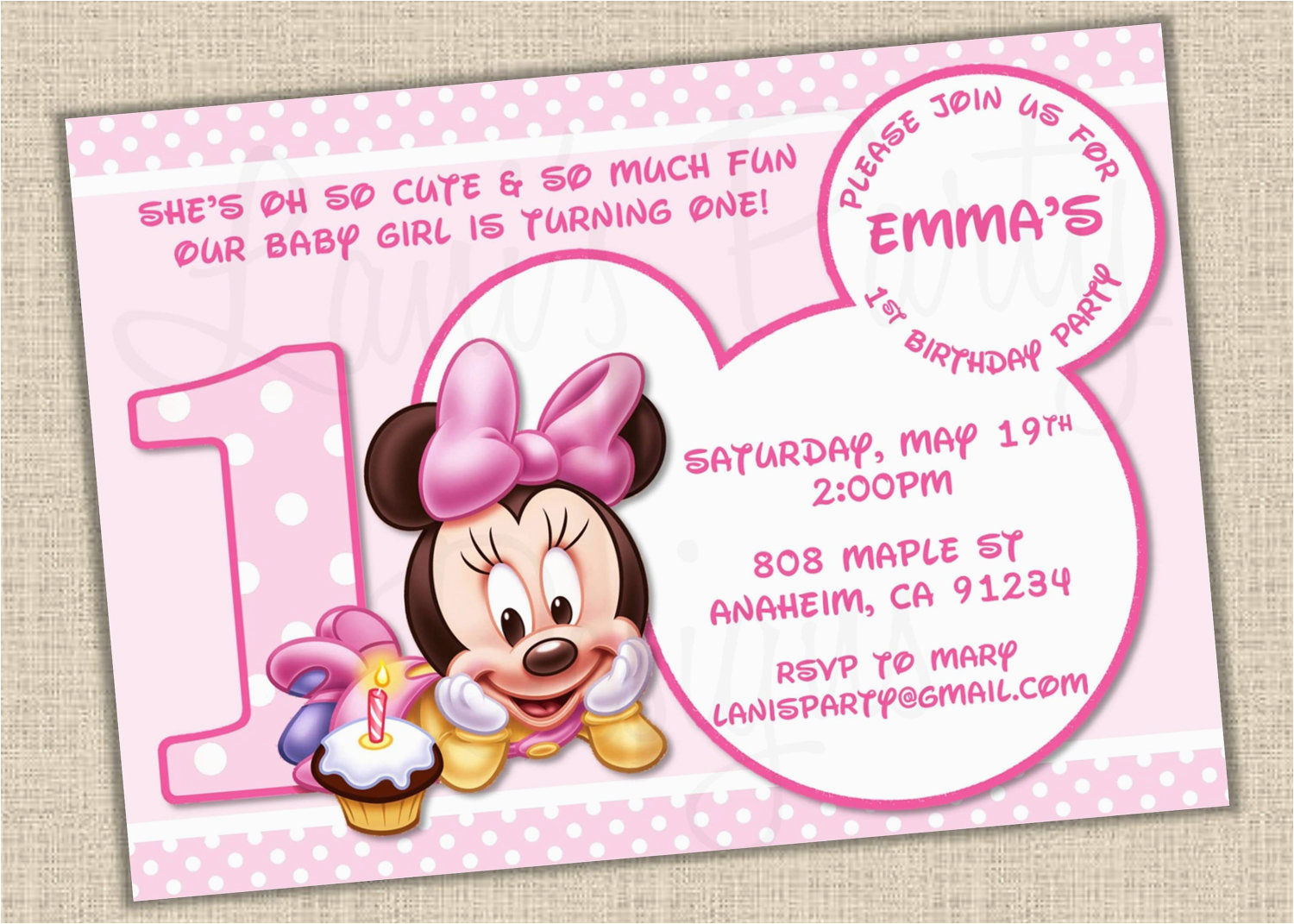 Minnie Mouse 1st Birthday Invitations Printable Baby
