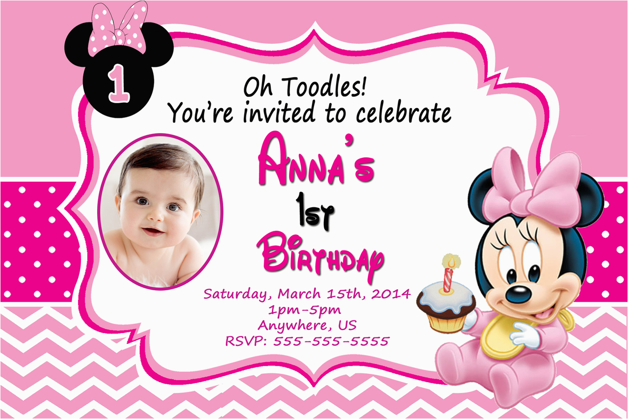 Minnie Mouse 1st Birthday Invitations Printable Baby Dolanpedia