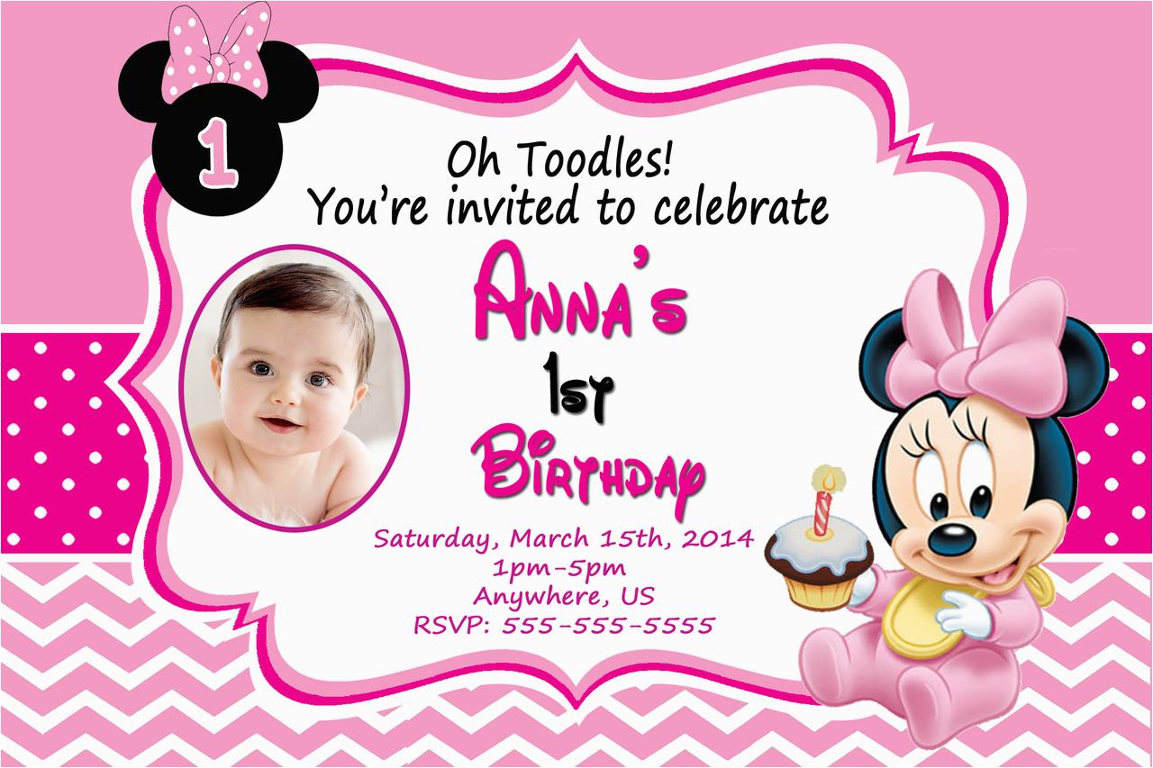 Minnie Mouse 1st Birthday Invitations Printable Birthdaybuzz