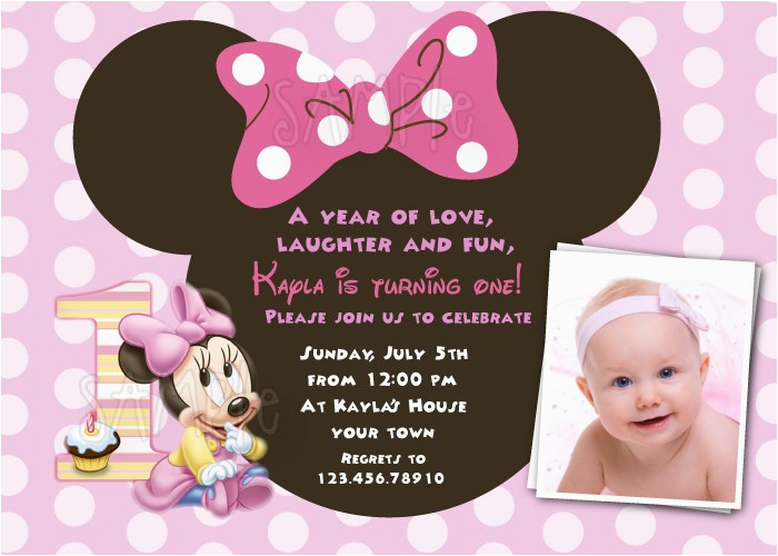 Minnie Mouse 1st Birthday Invitations Printable Free Download