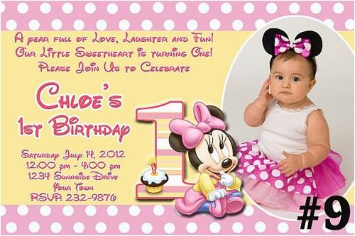 Minnie Mouse 1st Birthday Invites Free Download Invitations