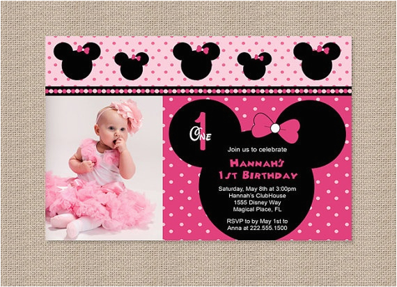 Minnie Mouse 1st Birthday Personalized Invitations Free Printable