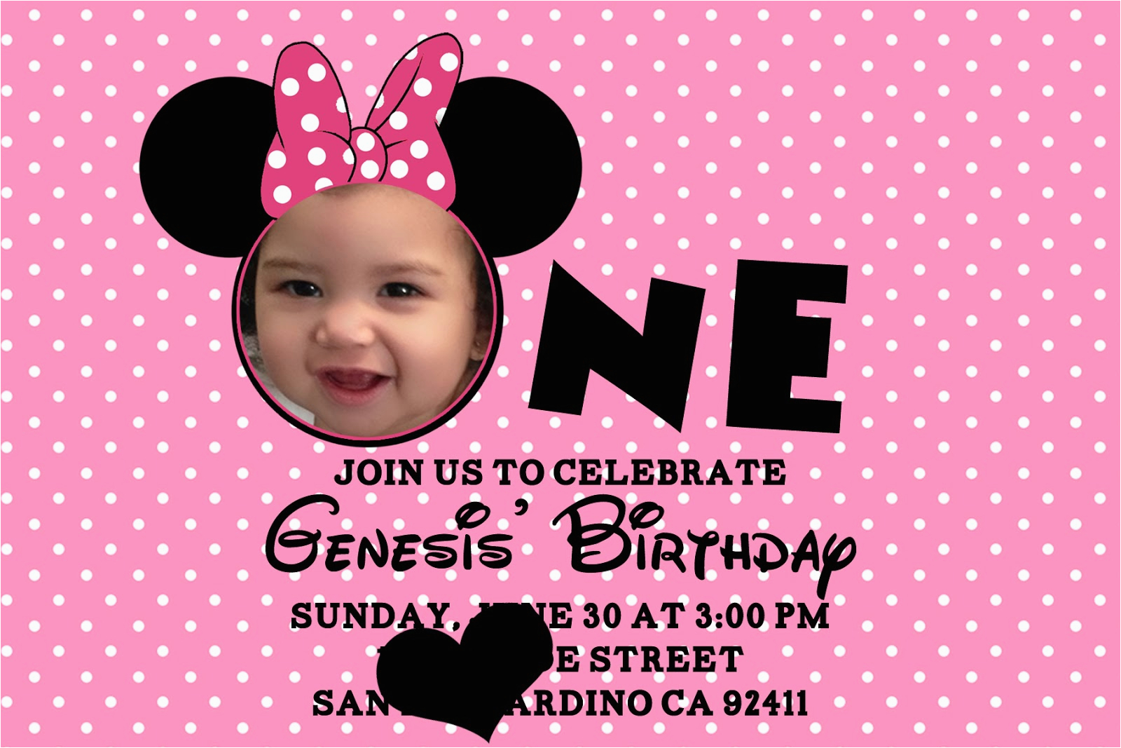 Minnie Mouse 1st Birthday Personalized Invitations Bagvania