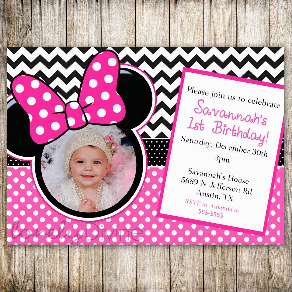 Minnie Mouse 1st Birthday Personalized Invitations Chevron Invitation 2nd