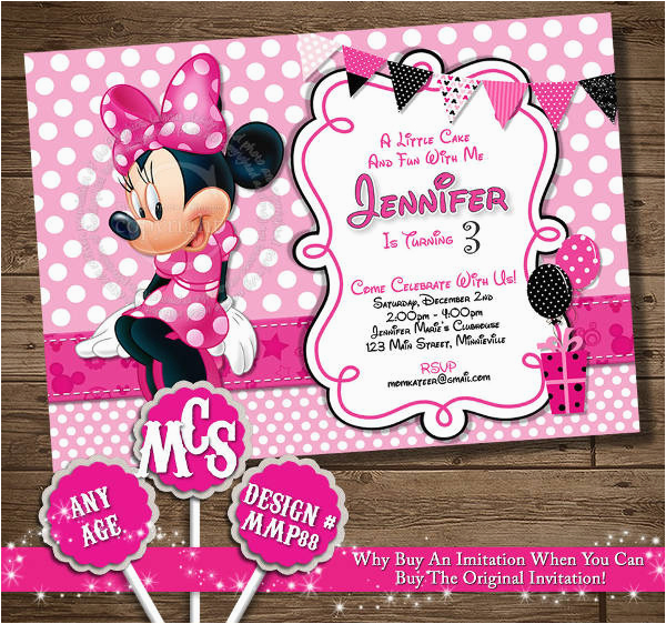 Minnie Mouse Birthday Invitations Diy 11 Psd Vector Eps