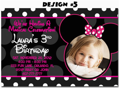 Minnie Mouse Birthday Invitations Diy Photo First Party Mickey