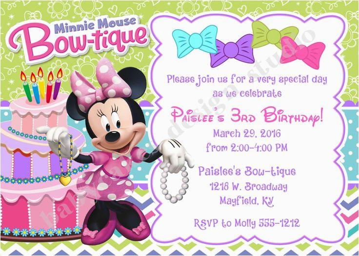 98305204344728353 Minnie Bowtique Birthday Invitation Invite Mouse From Invitations