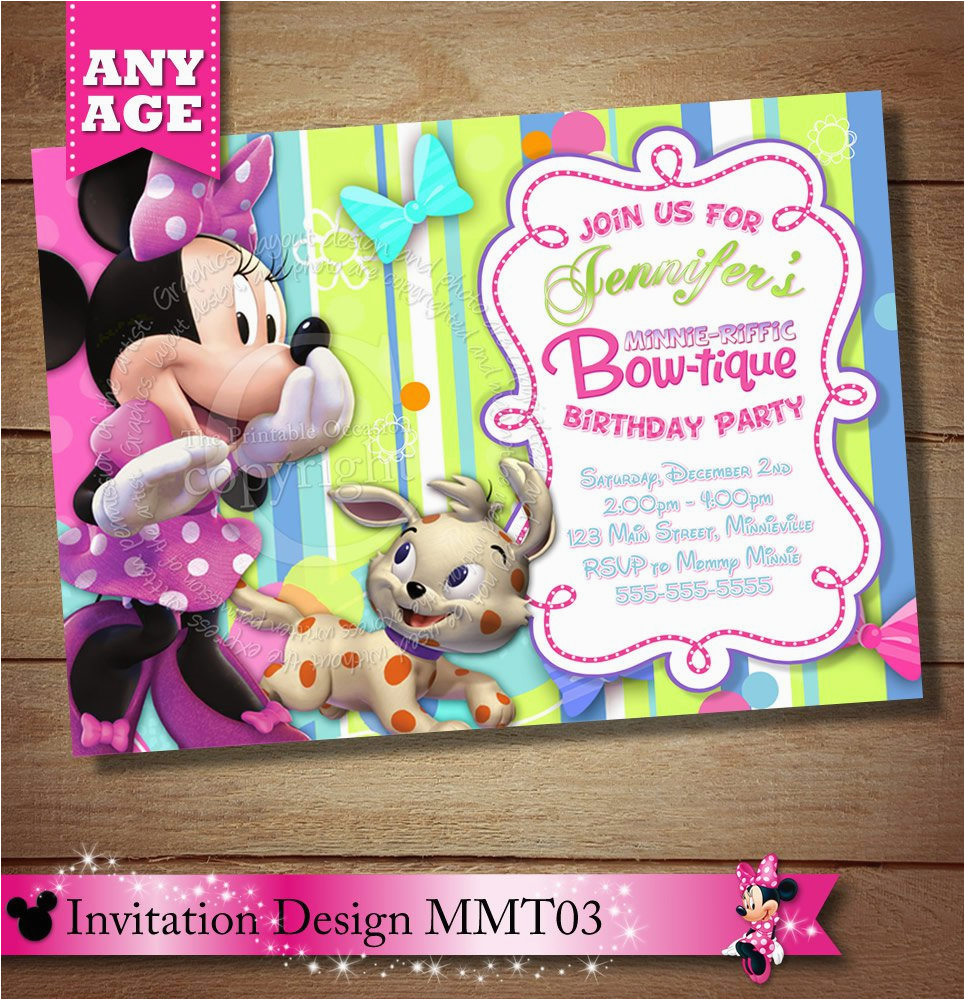 Minnie Mouse Bowtique Birthday Invitations Best Party Ideas