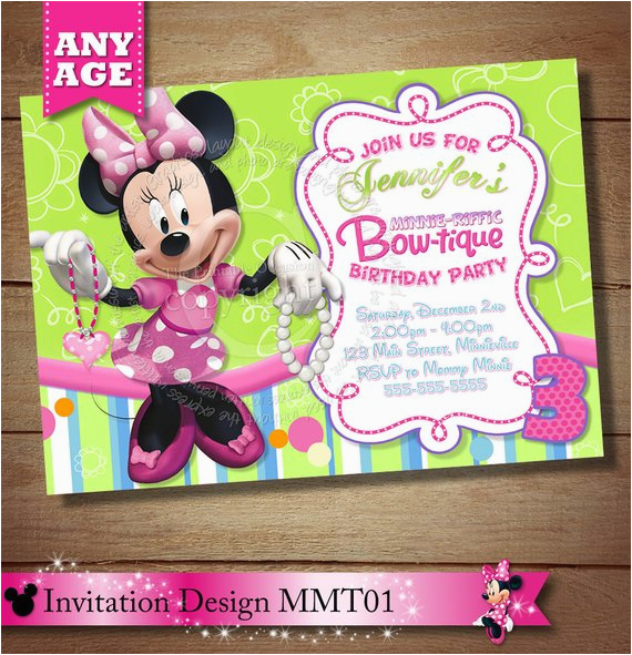 Minnie Mouse Bowtique Invitation