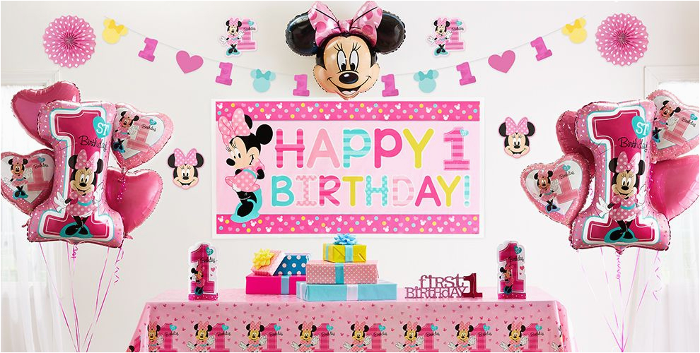 Minnie Mouse Decorations for 1st Birthday Minnie Mouse 1st Birthday Party Supplies Party City