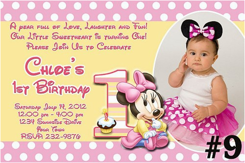 Minnie Mouse First Birthday Invites Free Download 1st Invitations