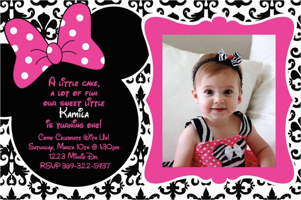 Minnie Mouse First Birthday Invites Free Printable 1st Invitation