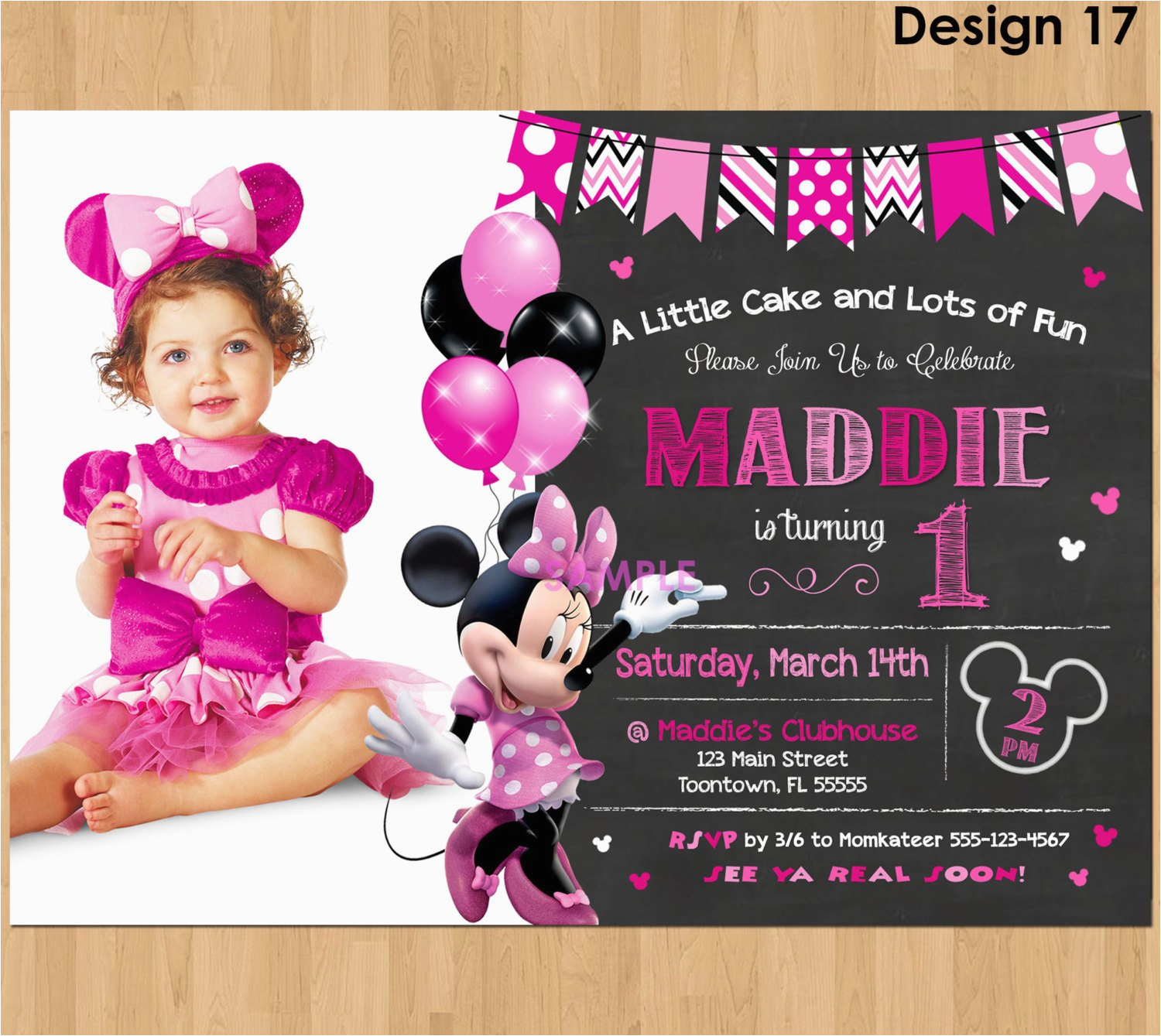 Minnie Mouse First Birthday Invites Invitation 1st Bday