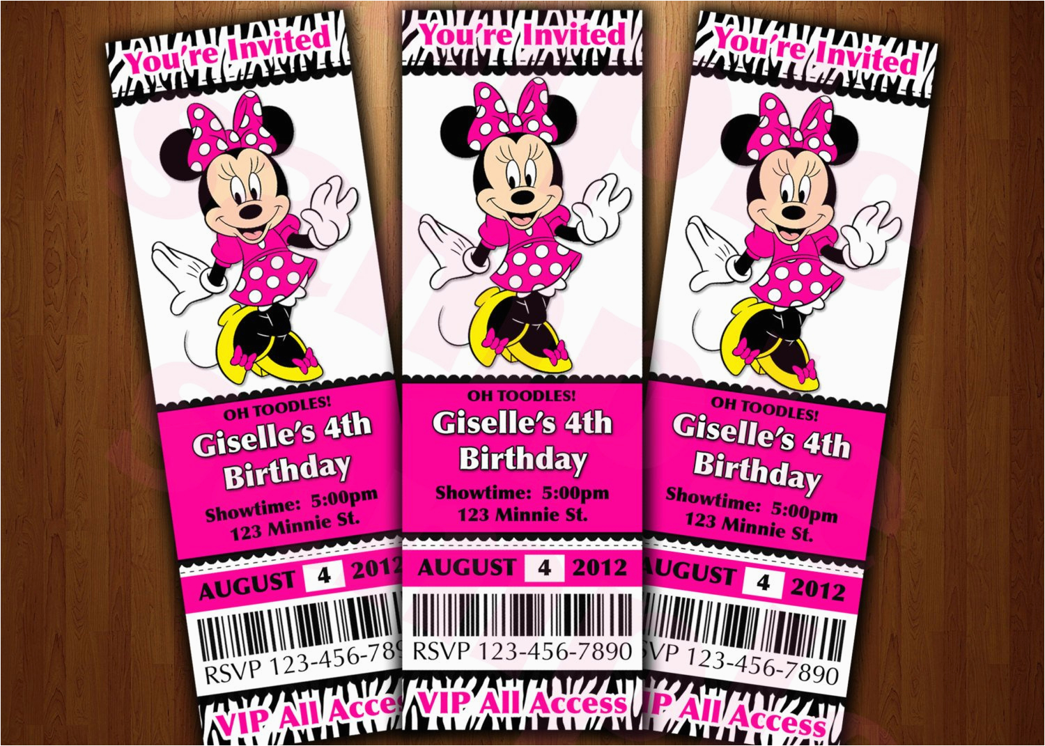 Minnie Mouse Ticket Birthday Invitations Minnie Mouse Ticket Invitation Printable Diy Invite Red or