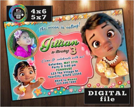 Moana Birthday Invitations Walmart Baby Invitation Custom Digital File Any Age