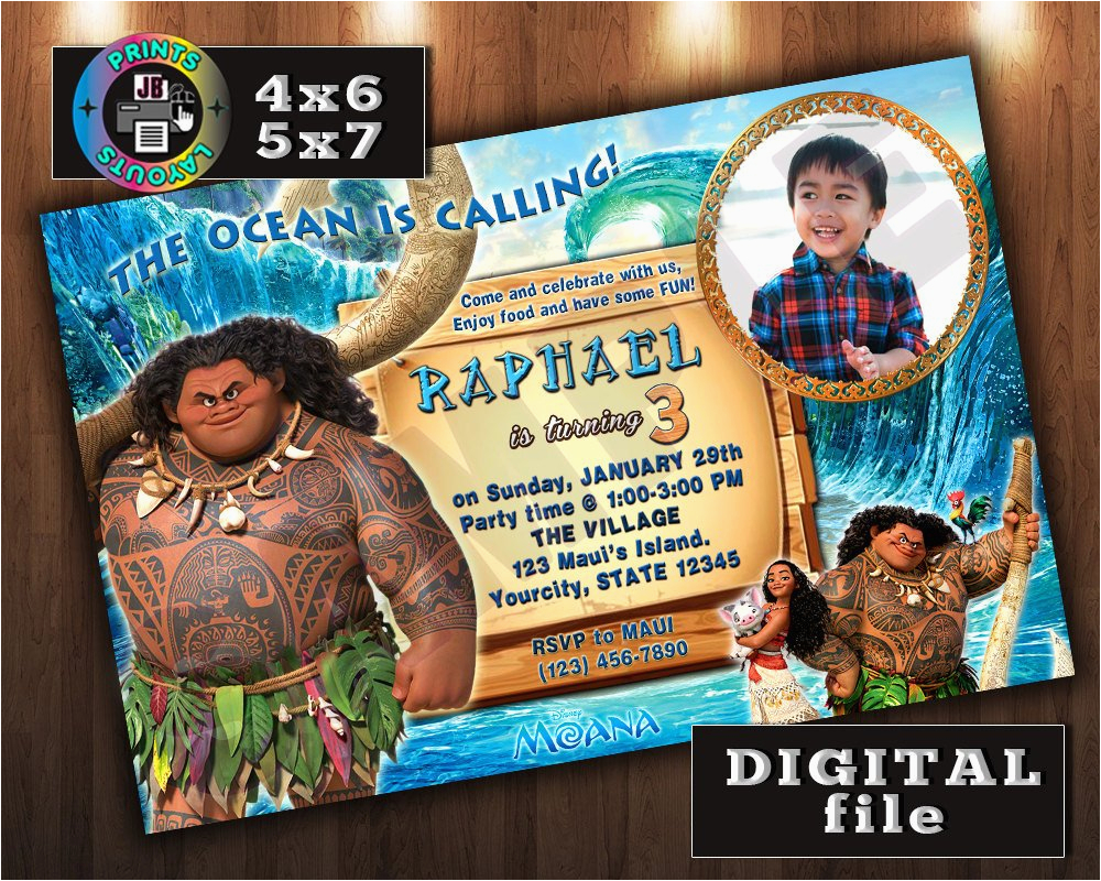 Moana Birthday Invitations Walmart Maui On Disney Invitation Custom Digital File