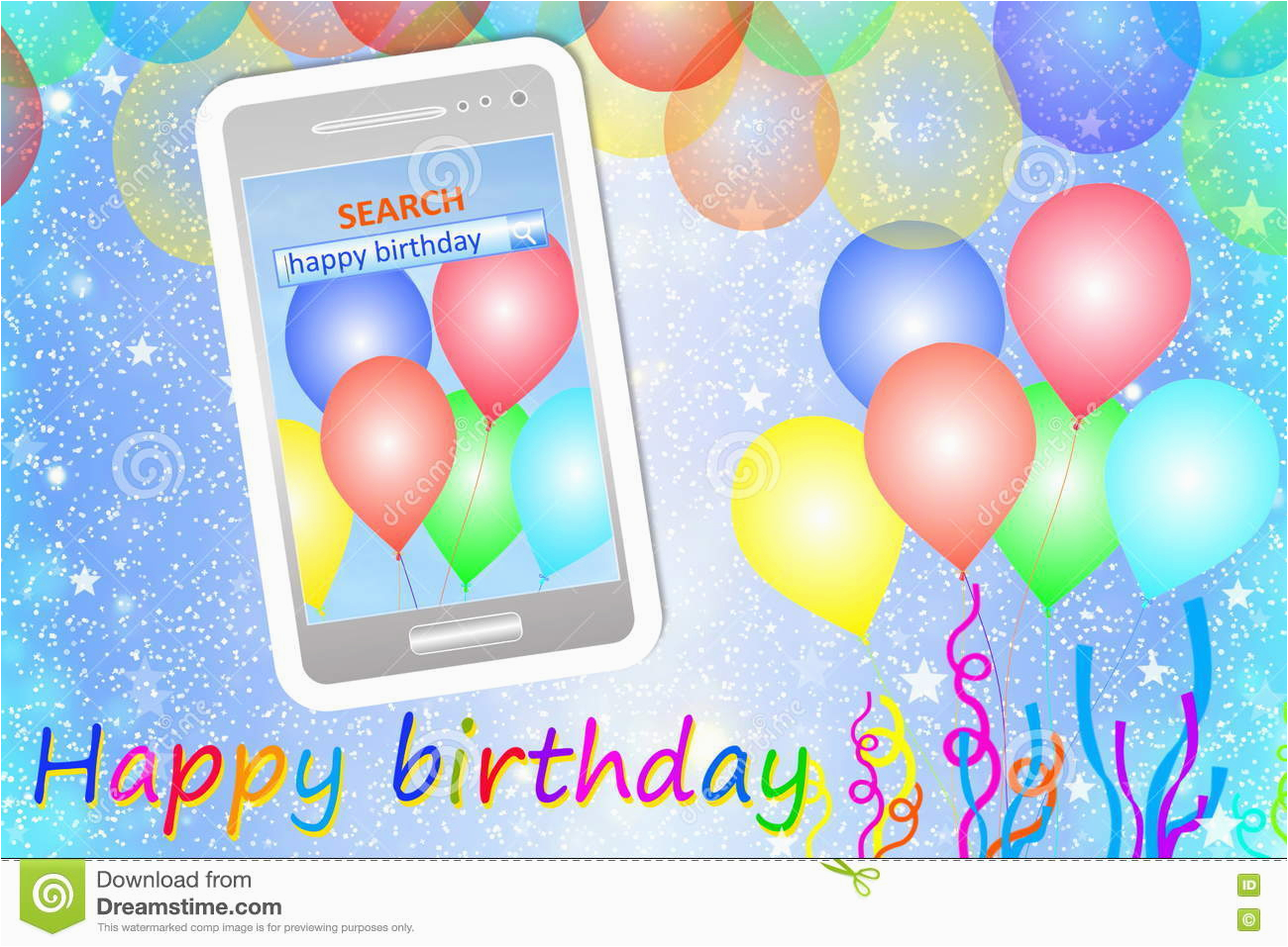 birthday greeting card or background with cellphone stock