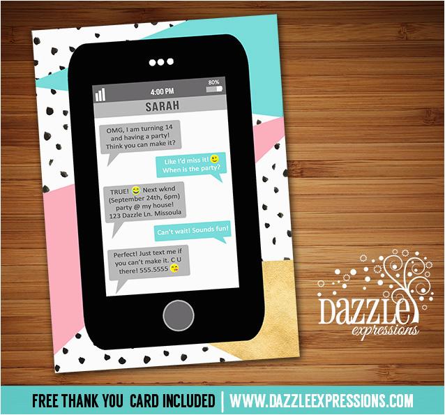 Mobile Birthday Invitations Printable Cell Phone Text Message Birthday Invitation