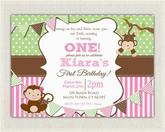 girls pink green monkey 1st birthday 2