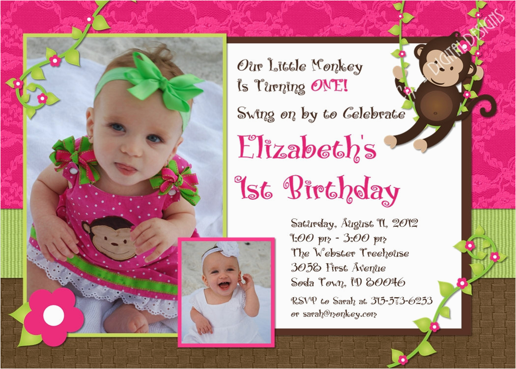 monkey birthday invitations first