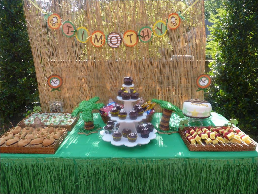 monkey themed 1st birthday party