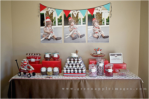 red aqua sock monkey party