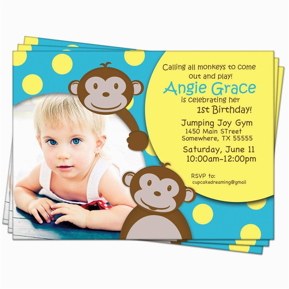 Monkey First Birthday Invitations Monkey Birthday Invitations Jungle