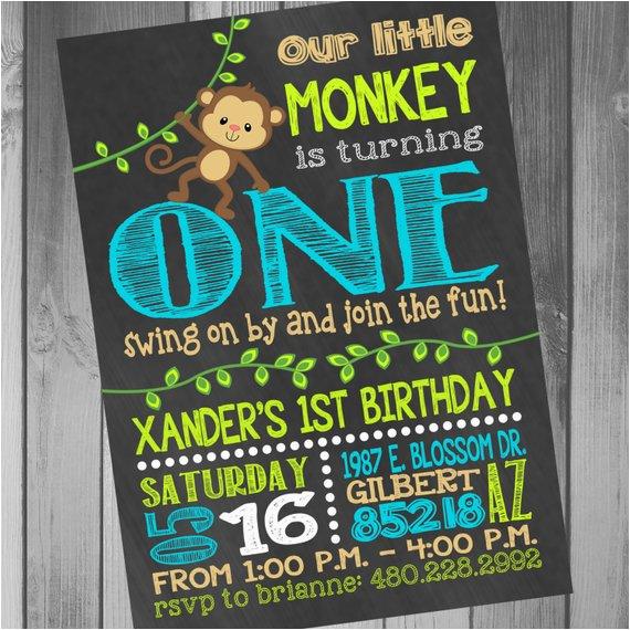monkey birthday invitation monkey