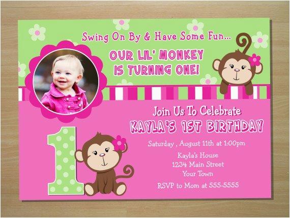 monkey girl 1st birthday invitation