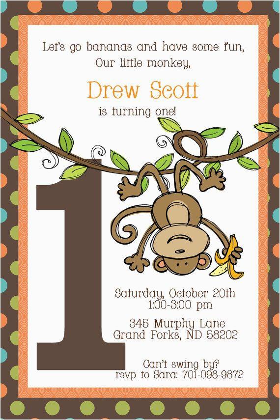 Monkey themed Birthday Party Invitations Best 20 Monkey First Birthday Ideas On Pinterest Monkey