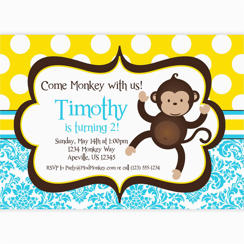 free monkey birthday invitations bagvania free printable