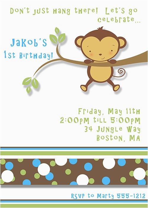 kids theme party 39 s monkey birthday invitation