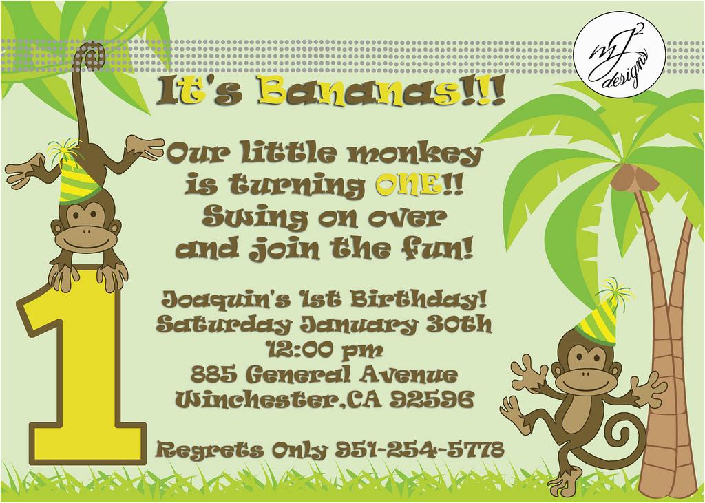 monkey themed birthday invitation wording first birthday