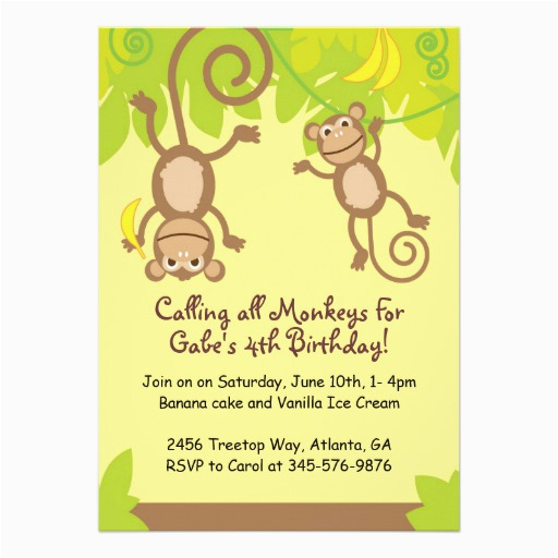 monkey themed birthday party invitation 5 quot x 7 quot invitation