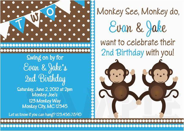 printable birthday invitations twins party monkey themed