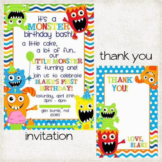 custom monster themed invitation with