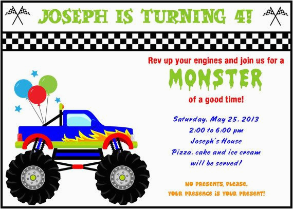 free printable monster truck birthday invitations