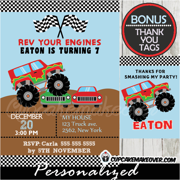 Monster Truck Birthday Invitations Free Printable