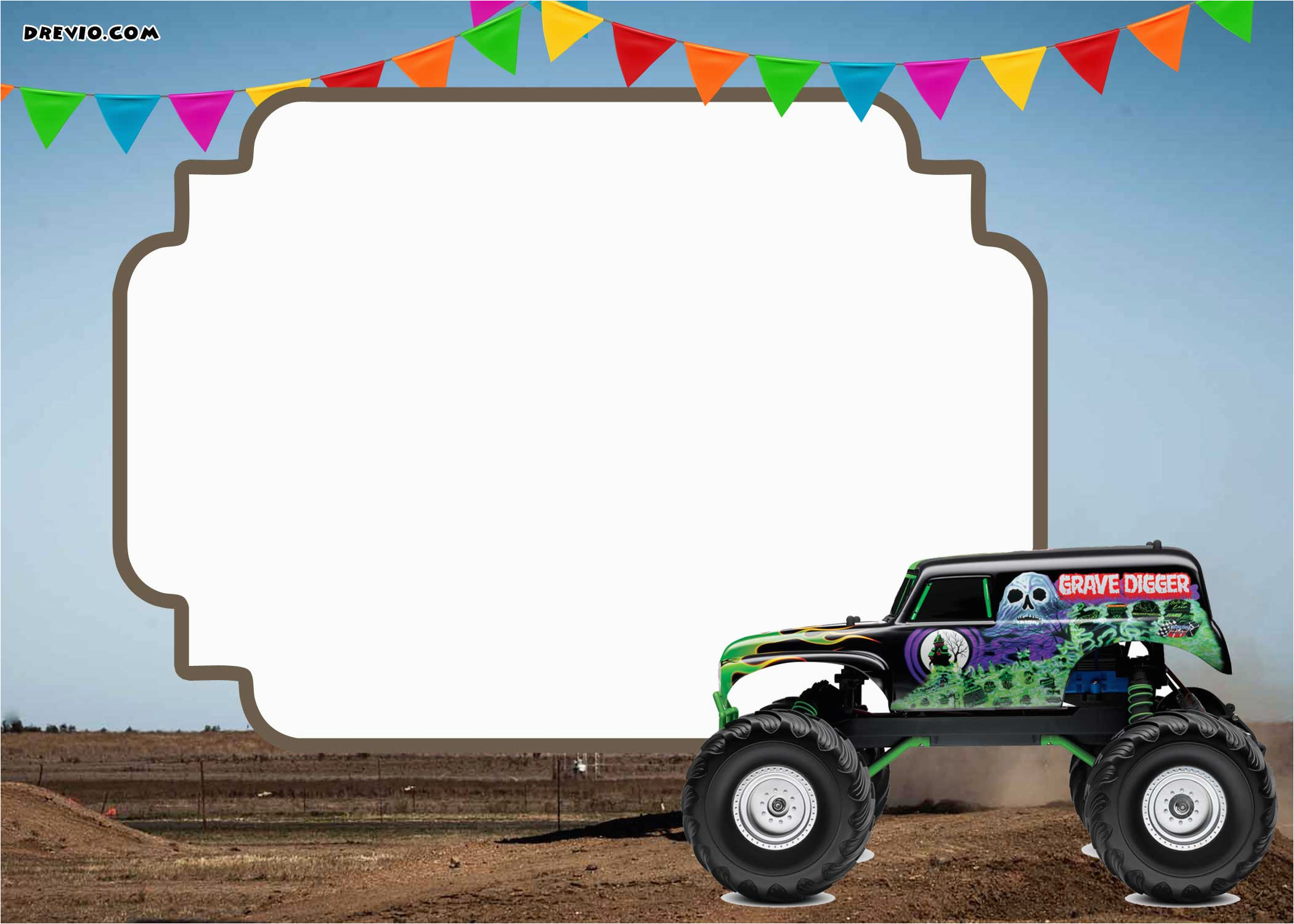 monster trucks invitation templates free printable