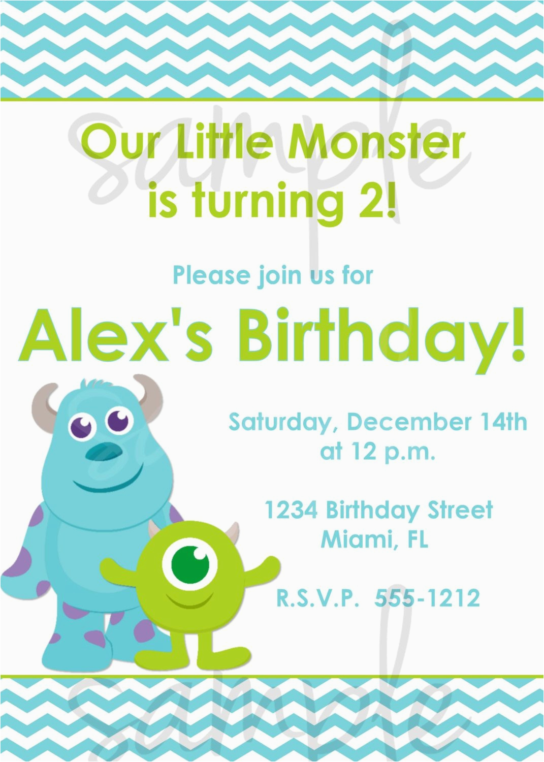 monster inc birthday invitation inspired